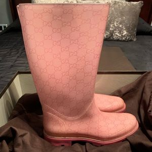 100% Authentic Pink Gucci Rain Boots
